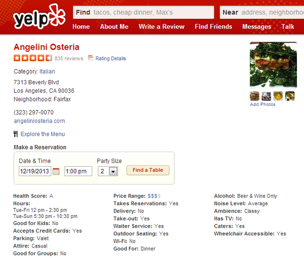 Health Grades Now Available on Yelp for L.A. Based Eateries