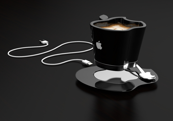 Icup mug shaped like the apple logo stays warm by for Apple icup