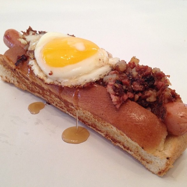 corned-beef-hash-hot-dog-maple-syrup-frenchtoast