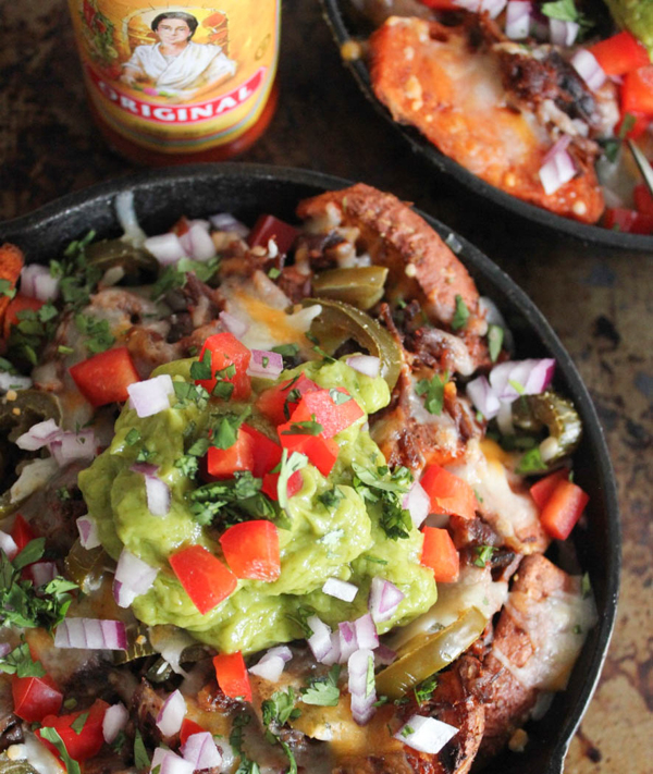 Loaded Sweet Potato Irish Nachos with Beer Braised Short Rib
