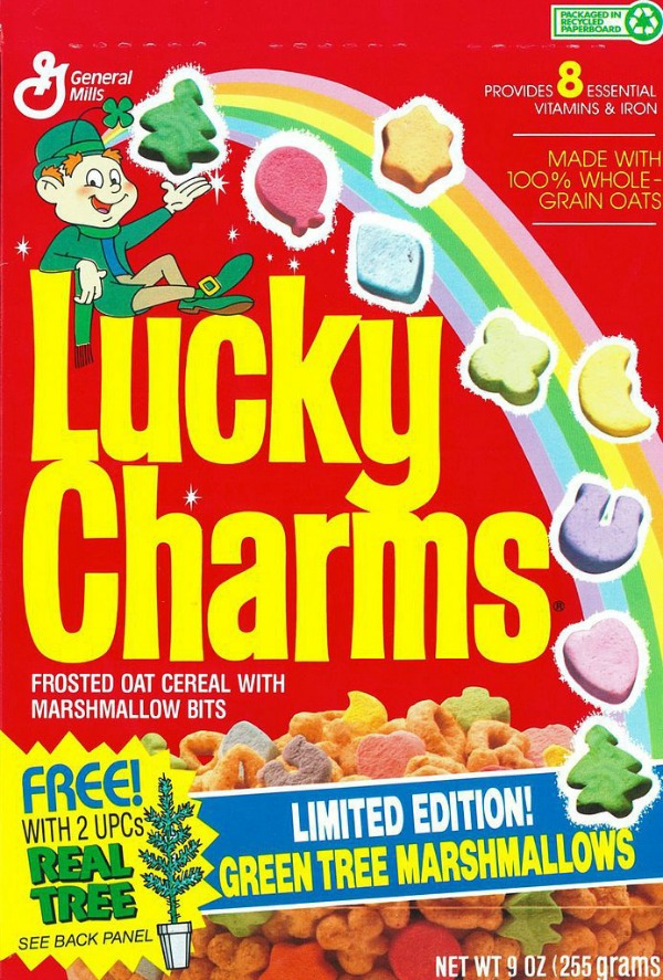 the concept and history of the lucky charms A while back, my husband saw me eating a bowl of the generic kroger-brand equivalent of lucky charms cereal (when i indulge in my vices, i indulge cheaply.
