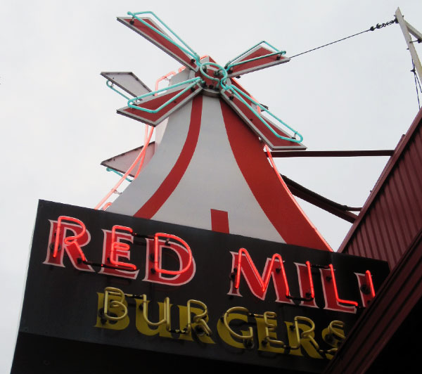 Red Mill Burgers Sign
