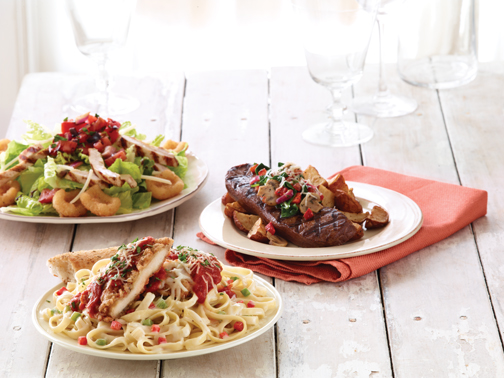 Applebees 2011 New Entrees Stacked Stuffed Topped Dishes