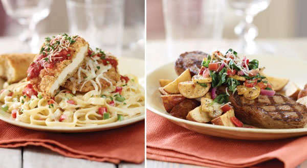 Applebee's Chicken Parmesan Stack &  Florentine Topped House Sirloin