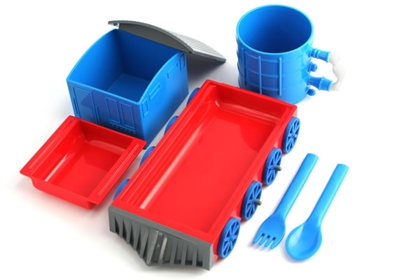 ... spoon rectangular plate square bowl and a small dish for sides or condiments all in a classic Thomas the Tank Engine color scheme of blue and red.  sc 1 st  Foodbeast & Chew-Chew Train