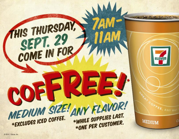 Free Coffee 7-Eleven September 29 2011