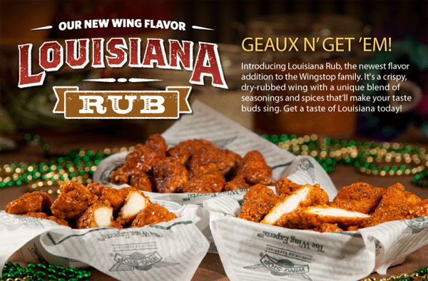 Wingstop Introduces 10th Wing Flavor -- Louisiana Rub