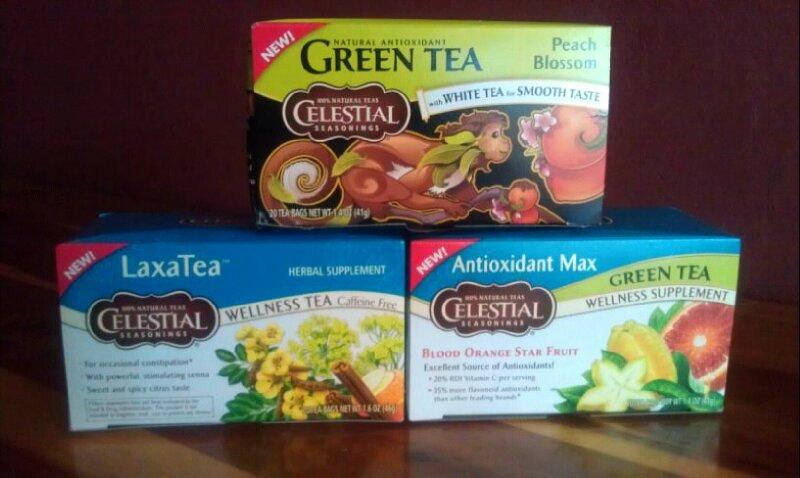 Celestial Seasonings Peach Blossom Green Tea, Antioxidant Max Green Tea Blood Orange Star Fruit Tea, LaxaTea Wellness Tea