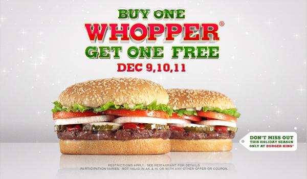 BOGO Whoppers at Burger King Dec. 9, 10 & 11