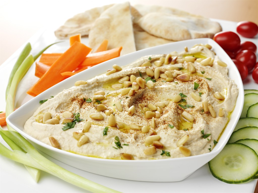toasted pine nut and garlic hummus