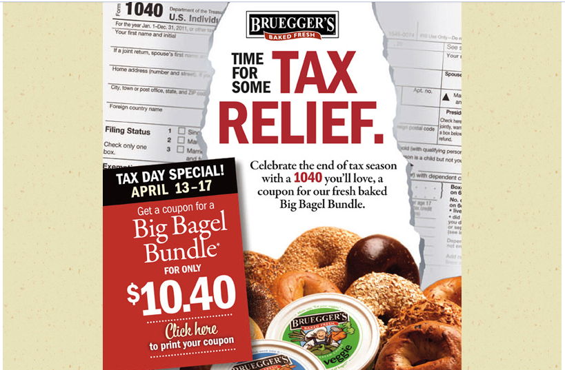Brueggers Bagels 1040 $10.40 Tax Relief Big Bagel Bundle
