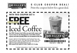 Bruegger's Free Iced Coffee Coupon June 21 2012