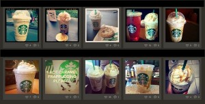 Riveting photos of caramel frappuccinos on Instagram.