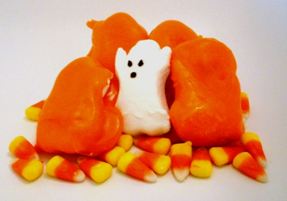 Here's How to Make Candy Corn Coated Ghost Marshmallow Peeps