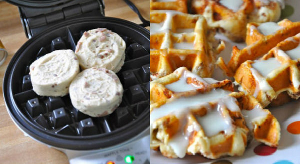 IDEA: Iron-Pressed Cinnamon Roll Waffles