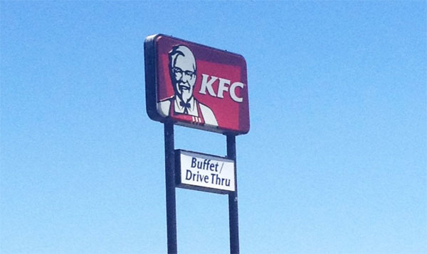 so apparently this kfc location has an all you can eat buffet