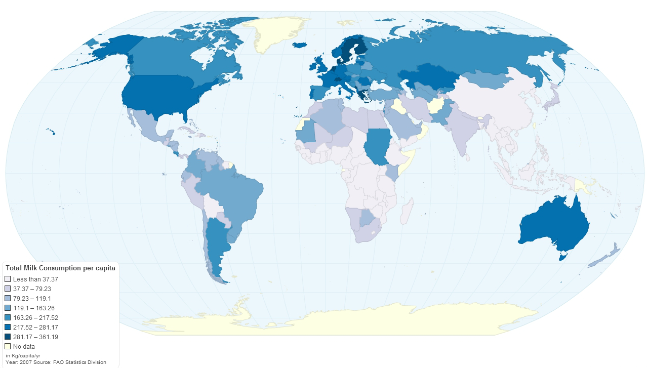 Map of milk consumption lactose intolerance around the world gumiabroncs Choice Image