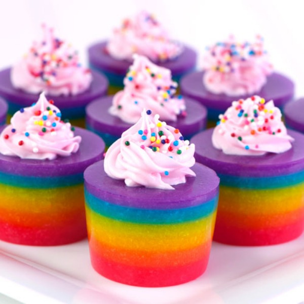 ... of the rainbow-layered cake jello shots. With frosting! And sprinkles