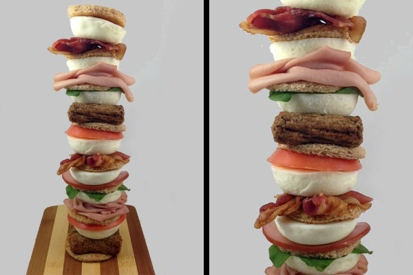 seven layer breakfast sandwich