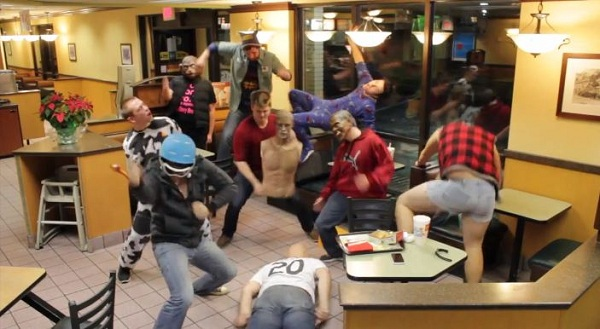Doing the Harlem Shake at McDonald's.