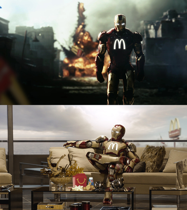 Iron Man blowing up McDonald's.