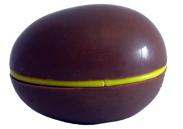 chocolate egg with capsule and ridge