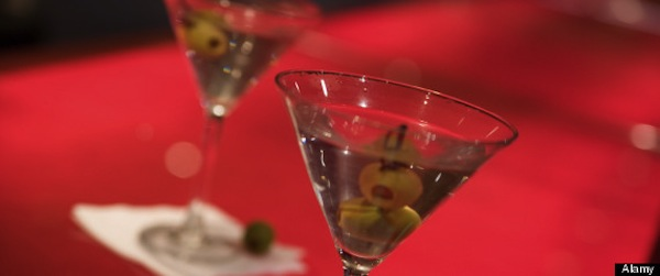 Martini Glasses on a red bar