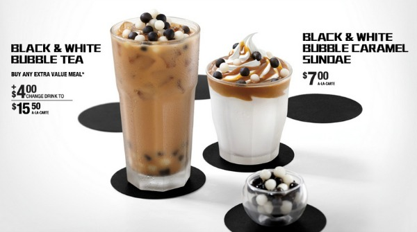 ... black and white caramel sundaes and black and white bubble tea