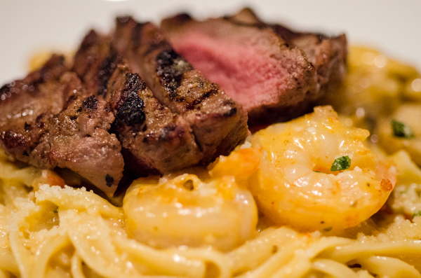 Shrimp steak liquor and pasta