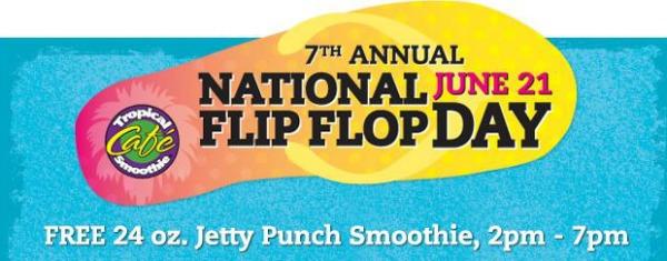 naitonal flip flop day free smoothie